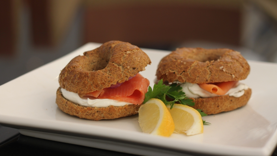 Passover bagels served with lox and cream cheese at the Inbal Hotel in Jerusalem.