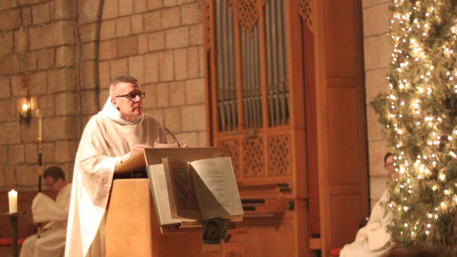 Father Gregory Collins, Abbot of the Dormition Abbey in Jerusalem, addresses the Jewish audience in his Christmas sermon.