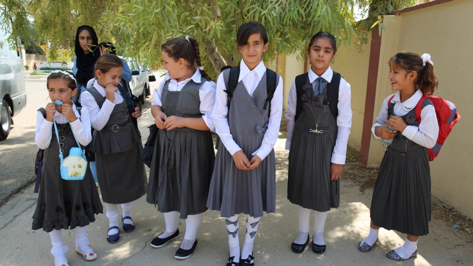 Schoolgirls in Makmour, Iraqi Kurdistan, after IS pulled back and Iraqi Kurds reclaimed their town.