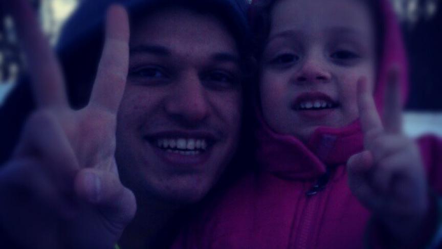 Fouad Faris with his cousin, Ayla, in Shrewsbury, Massachusetts.