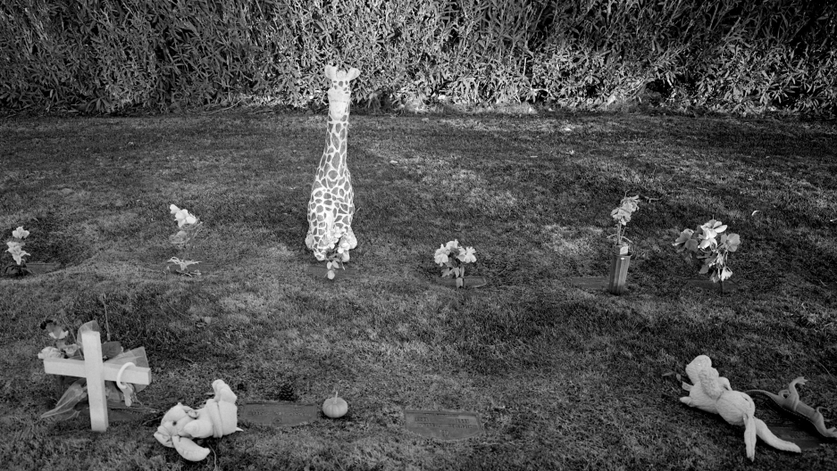 Children's toys left in part of a cemetery that is reserved for children, Las Vegas, Nevada, 1996
