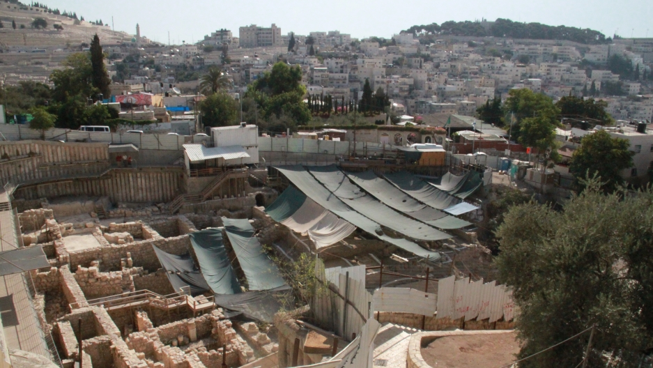 Archaeological excavations near the City of David archaeological park in the neighborhood of Silwan in east Jerusalem.