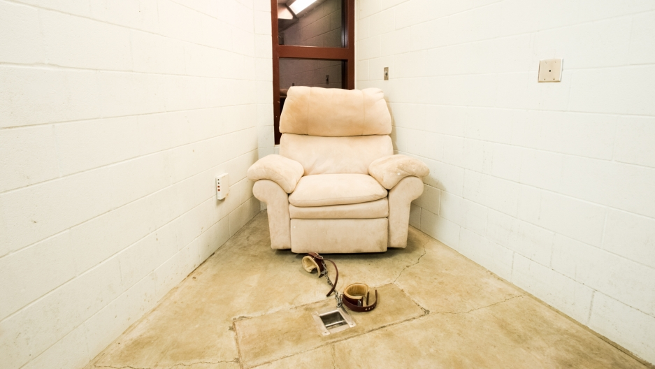 """A """"Compliant Detainee Media Room"""" at Guantanamo's Camp 5, where well-behaved prisoners can watch TV."""