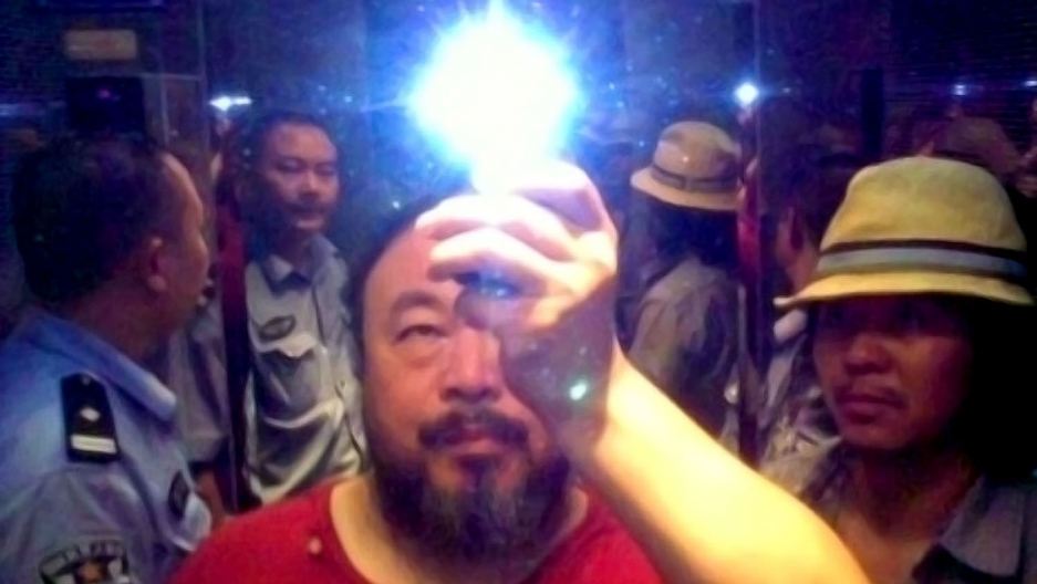 Ai Weiwei in the elevator when taken into custody by the police, Sichuan, China, 2009