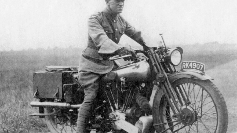 Lawrence of Arabia on his Brough Superior. He died in a bike accident in 1935.