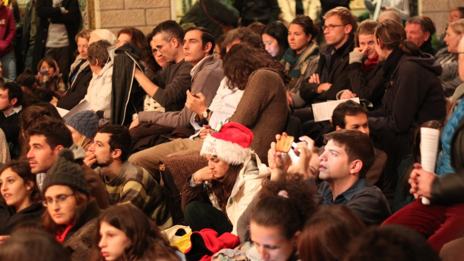 Israeli Jews far outnumbered Christians attending mass.