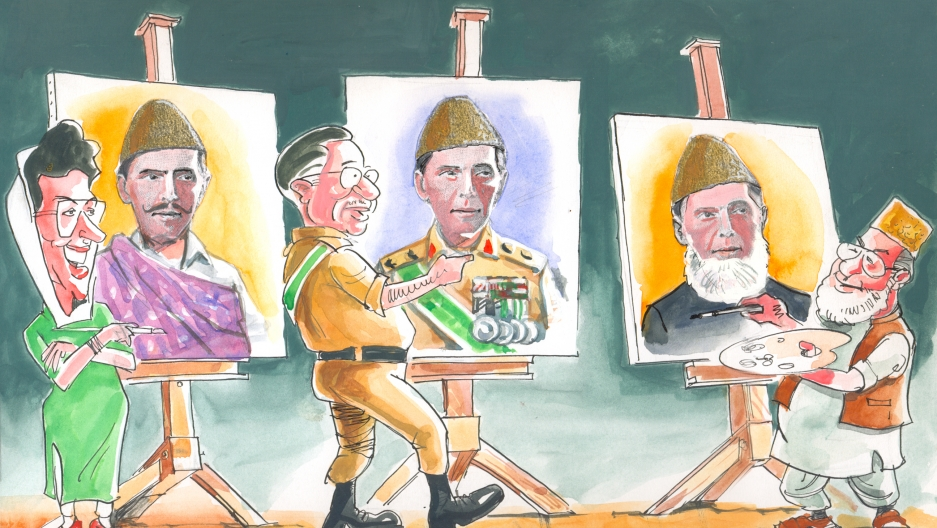Every Pakistani leader invokes the words of Pakistan's founder Mohammad Ali Jinnah to justify their political program. Seen here, next to slightly amended portraits of Jinnah, are Benazir Bhutto, General Pervez Musharraf and Qazi Hussain Ahmad of the Jama