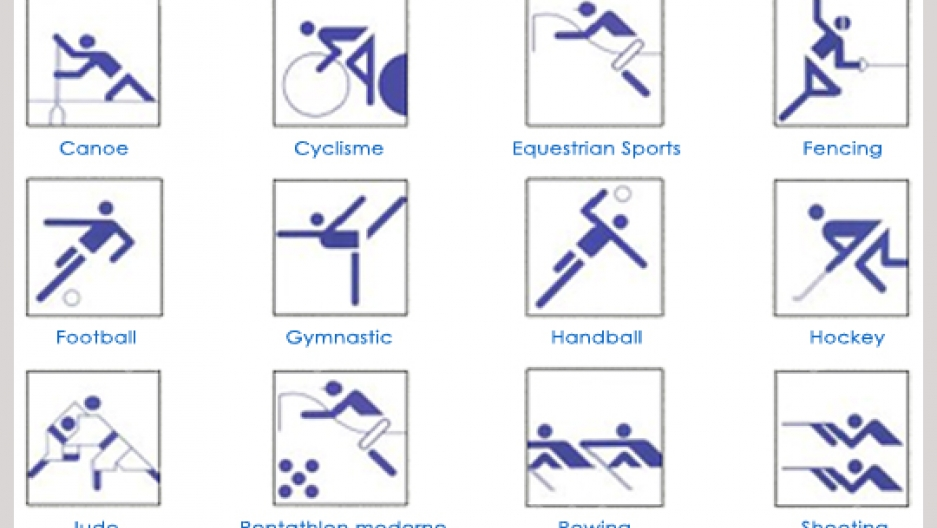 Otl Aicher's pictograms designed for the 1972 Munich Summer Olympic Games.