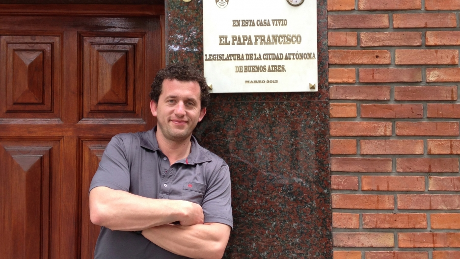 Facundo Silva, an Argentine firefighter who now lives in Washington DC, recently visit one of the houses where Pope Francis lived in Buenos Aires.