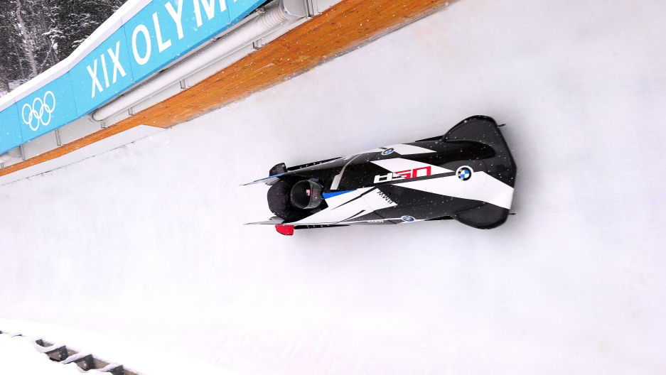 Team USA's 2-man sled at the Utah Olympic Park.