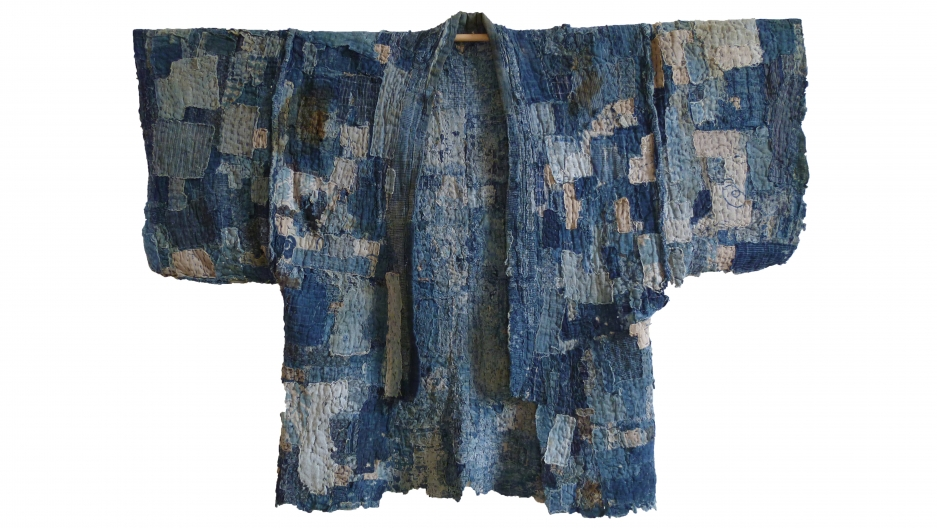 This is an unbelievably patched work coat, or noragi, that likely never began as a full garment, but was rather made from multiple, very small patches — some of them the size of a postage stamp — that were all sewn together to create an area of cloth, an