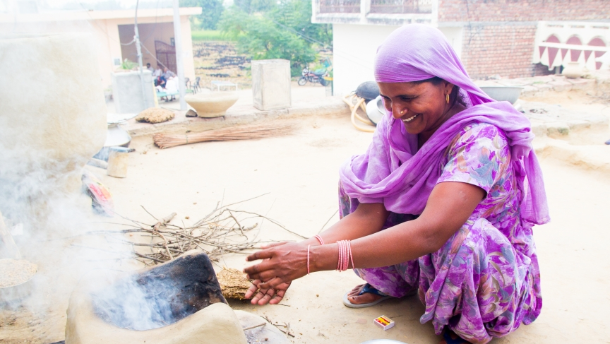 Chachi makes chai the traditional way in Hathlana, a small village in Karnal district, Haryana.
