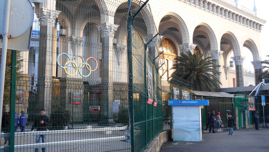 Sochi's historic train station now features high-speed trains to the airport and to Olympic facilities. It's surrounded by a security fence and all passengers must pass through metal detectors and bag inspection.