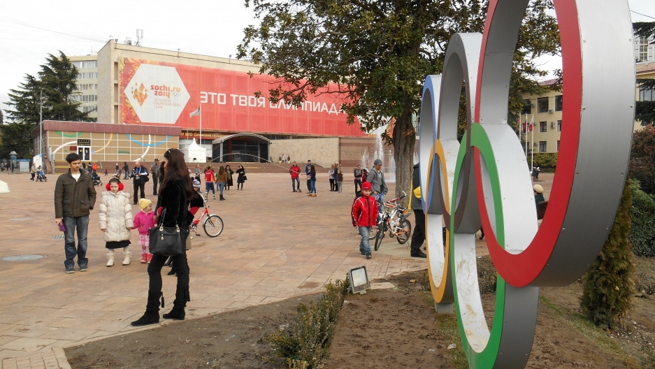 Downtown Sochi is still sprucing up before the Games begin, but many residents are very excited about the event and ready for guests to arrive.