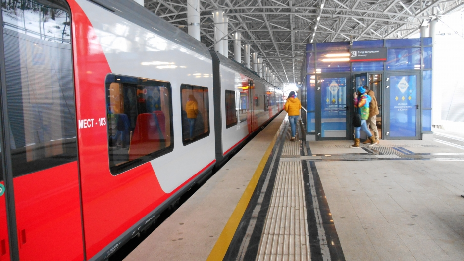 New Russian Railways platform at Krasnaya Polyana, the mountain base for Olympic skiing and other snow-based sports.