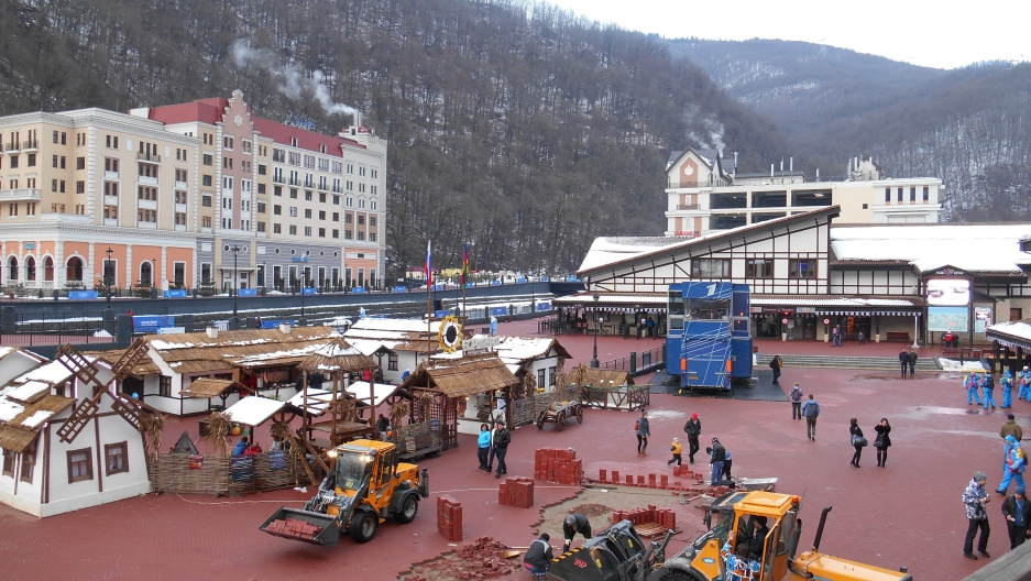 The mountain-area resort Rosa Khutor is still getting a few last-minute repairs two weeks before the Olympics.