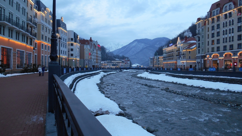 The Rosa Khutor development lines the mountainous Mzimta River with high-end shops, hotels and restaurants.