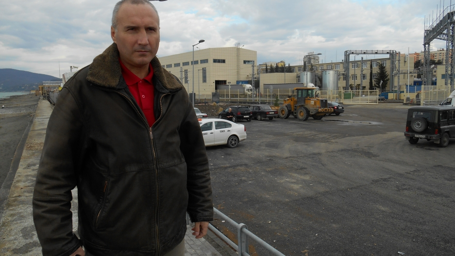 Alexei Kravets stands by the spot where his home once stood in the Adler region of Sochi. It was torn down in October 2012 after a protracted court battle.