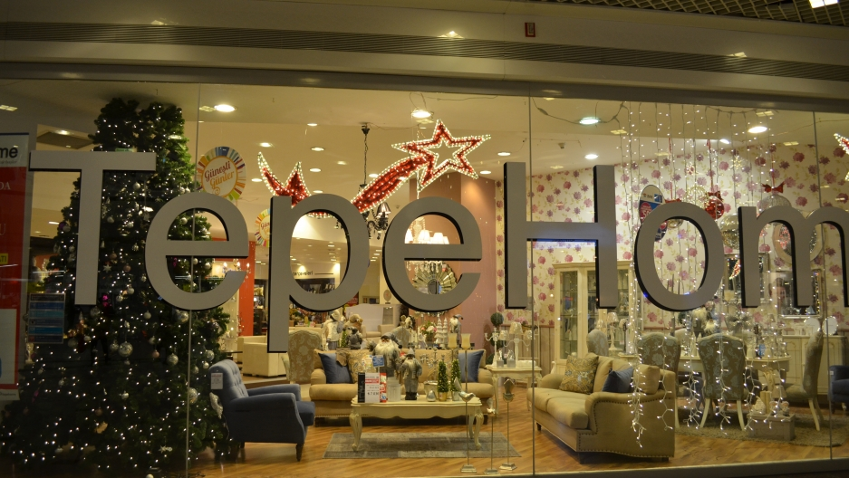 A popular Turkish home goods store, Tepe Home, is full of decoration for the season, with trees, ornaments and Santa figurines.
