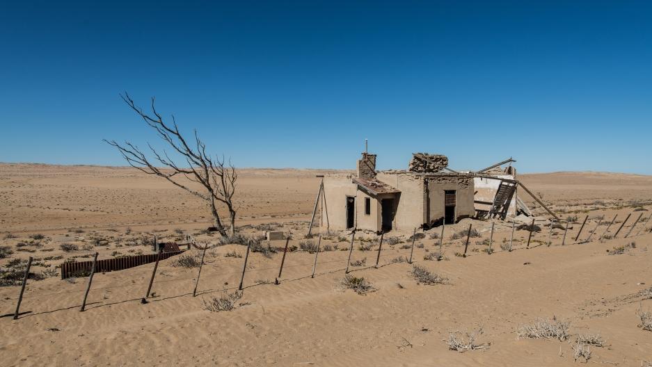 An abandoned house in Kolmanskop, Namibia