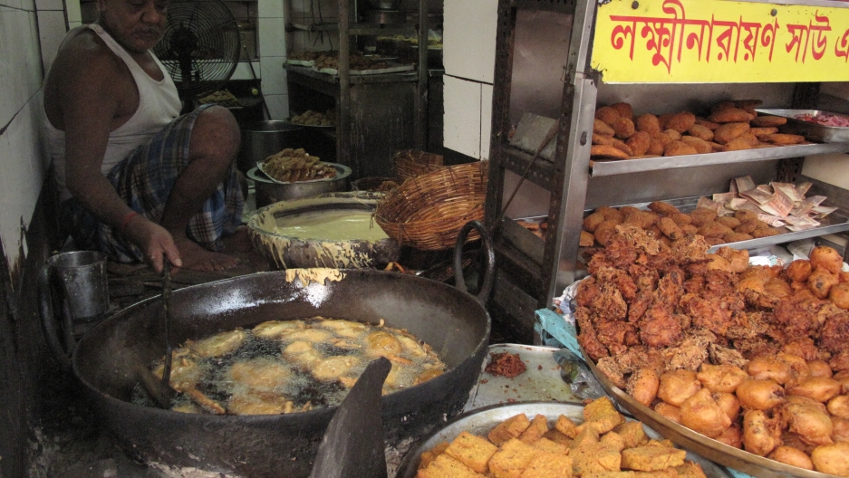 One of Kolkata's oldest and most popular destination during Durga Puja: Laxmi Narayan Sau, a store known for its vegetable chops (a mix of vegetables, breaded and deep-fried. It's been around since 1918.