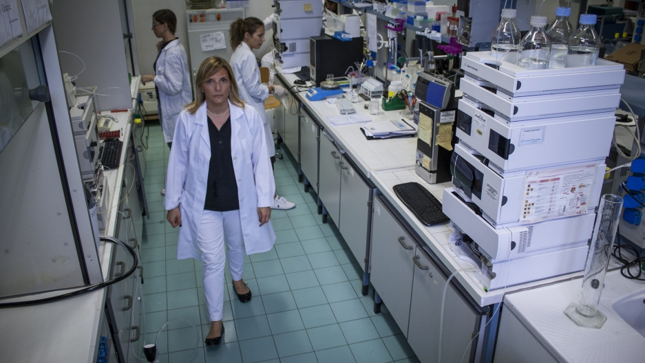 Carmen Lamacchia in her laboratory, where she's currently developing a modified wheat that has 10 times less gluten than standard wheat.