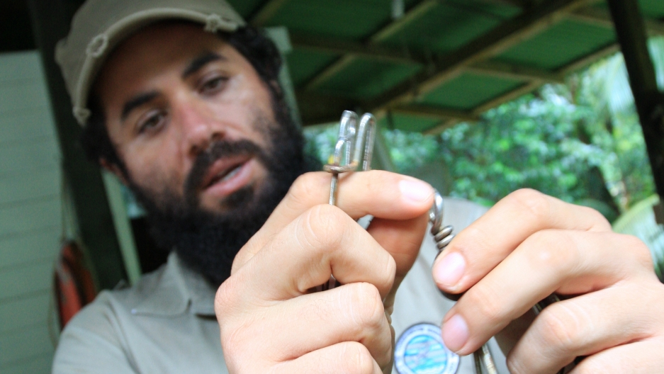 Ranger Geiner Golfin shows off fish hooks confiscated from illegal shark boats around Costa Rica's Cocos Island.