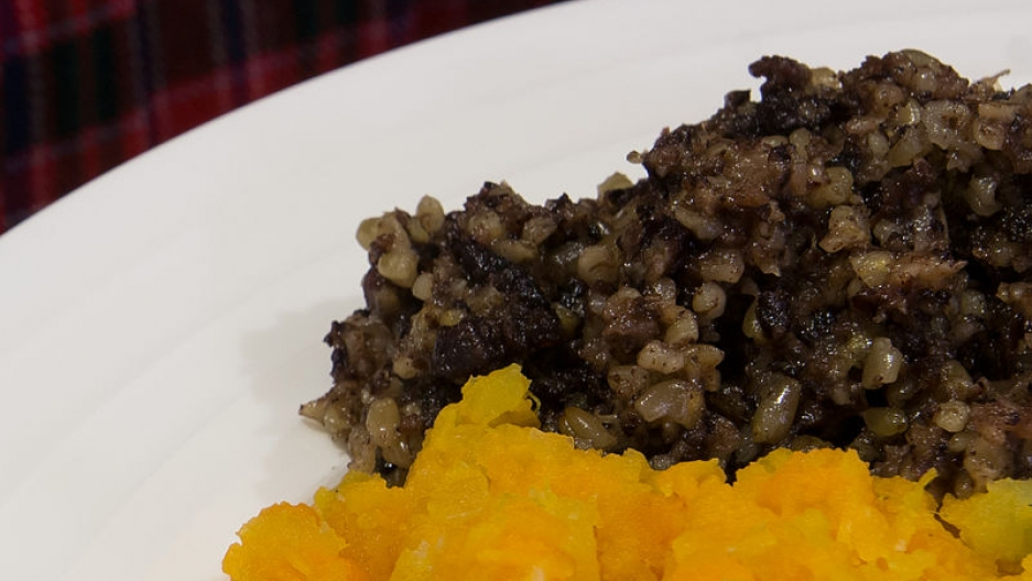 The traditional Scottish dish of haggis, neeps and tatties (haggis, turnip and mashed potato).