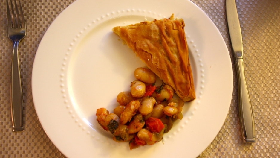 Tiropita (cheese pie) and Gigante Beans.