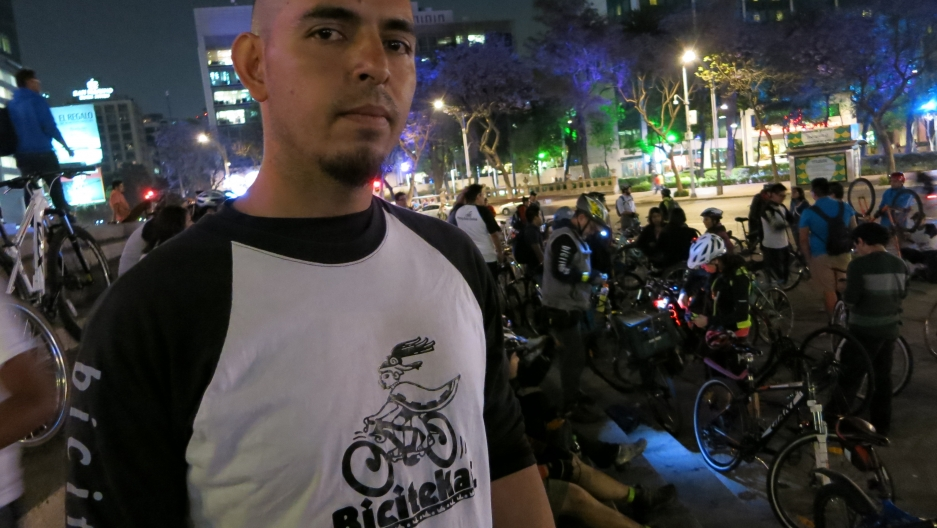 "Ivan Sandoval, aka ""El Guajo"" (The Turkey), helps organize the cycling group ""Bicitekas"" in Mexico City."