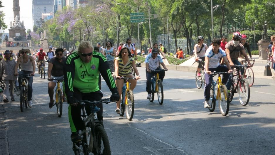Cyclists take over El Paseo de La Reforma in central Mexico City each Sunday.