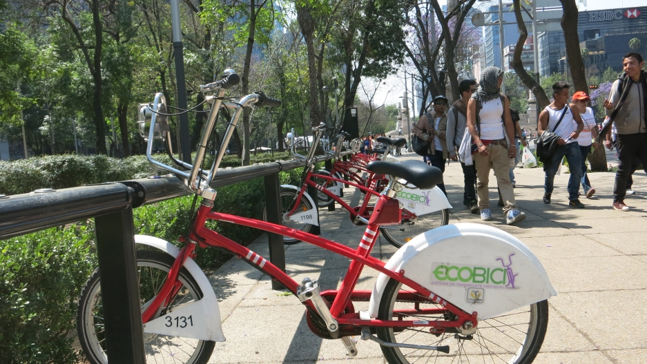 One of Mexico City's many bike rental locations. The city estimates there are 30,000 trips a day using rented bikes.