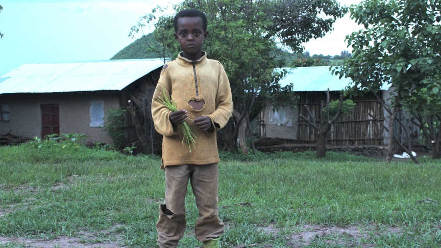 A young boy in Awra Amba. Unlike in most of Ethiopia, children here work only a few hours a day, leaving more time for education and recreation.