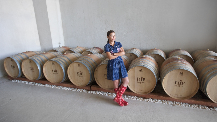 Gaye Ozcan at work in the wine cellar at Nif Vineyards, which she started with her father ten years ago.