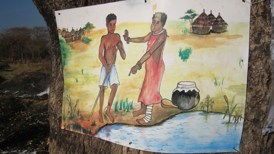 A poster reminds Guinea worm patients not to step in a source of drinking water.