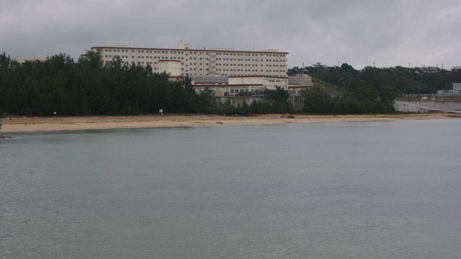 The Okinawa governor approved landfill work to build new aircraft runways along this coastal area near US military base Camp Schwab on the northern part of the island.