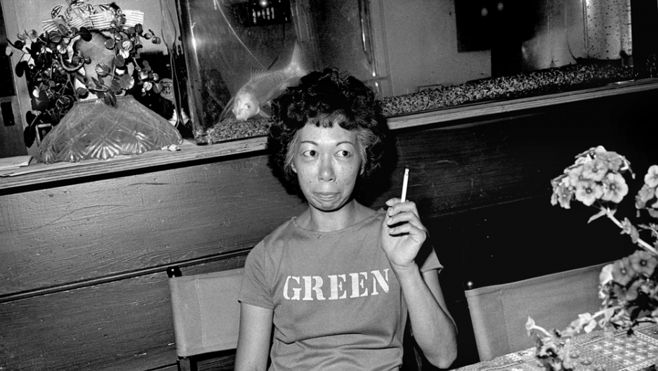 Aunt Lucy with a cigarette.