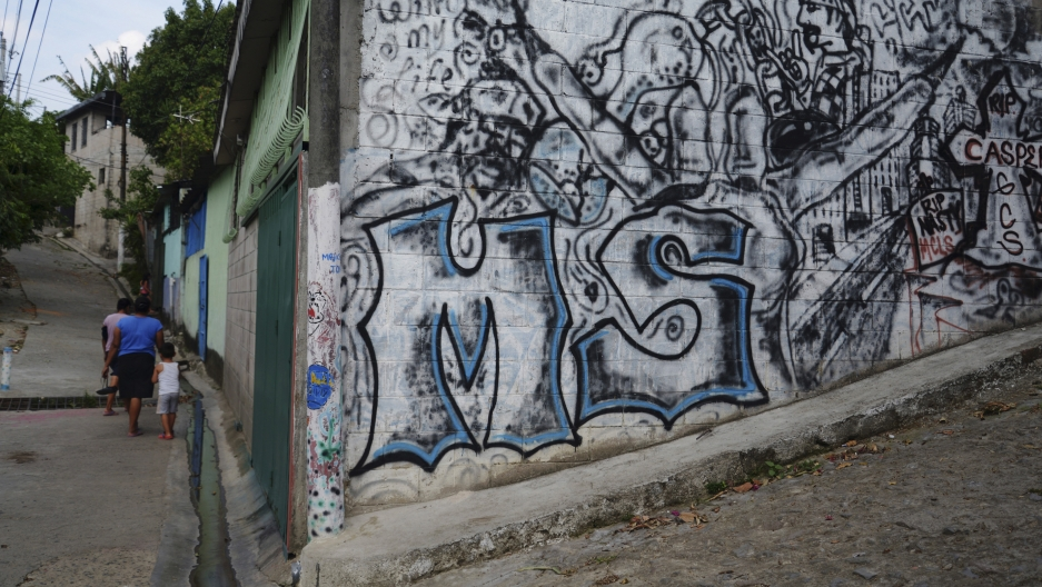 "Graffiti of the letters ""MS"", which stand for the street gang Mara Salvatrucha, photographed in San Salvador on April 22, 2014. Mara Salvatrucha (MS-13) and Calle 18 are rival gangs that started in Los Angeles but now have a heavy presence in El Salvador."