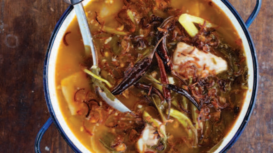 Jaw Phak Kat, a northern Thai soup with mustard greens and tamarind.