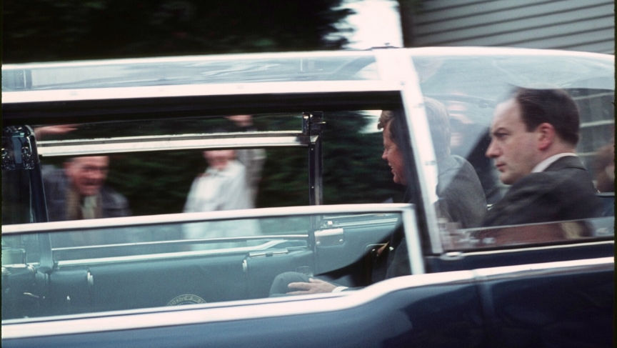 Kennedy waves to onlookers in Forest Row.
