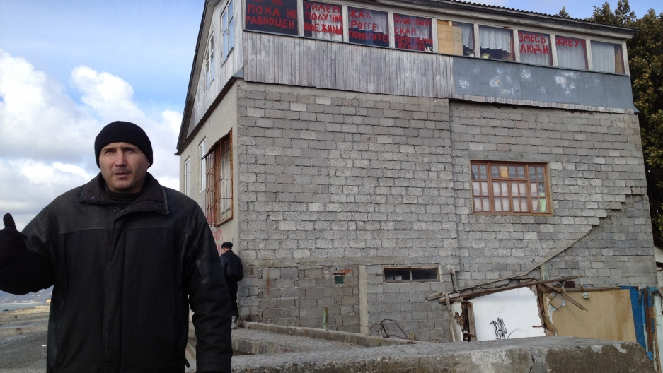 Alexei Kravets stood by his house in Sochi in 2012. He fought for months to save it, but in October 2012 it was torn down to make room for preparations for the Sochi Olympics.