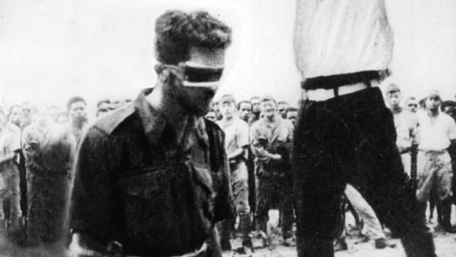 A photograph found on the body of a dead Japanese soldier showing Australian army Sergeant Leonard G. Siffleet about to be beheaded, in New Guinea on 24th October 1943. The execution was ordered after Sgt Siffleet was captured while on reconnaissance behi