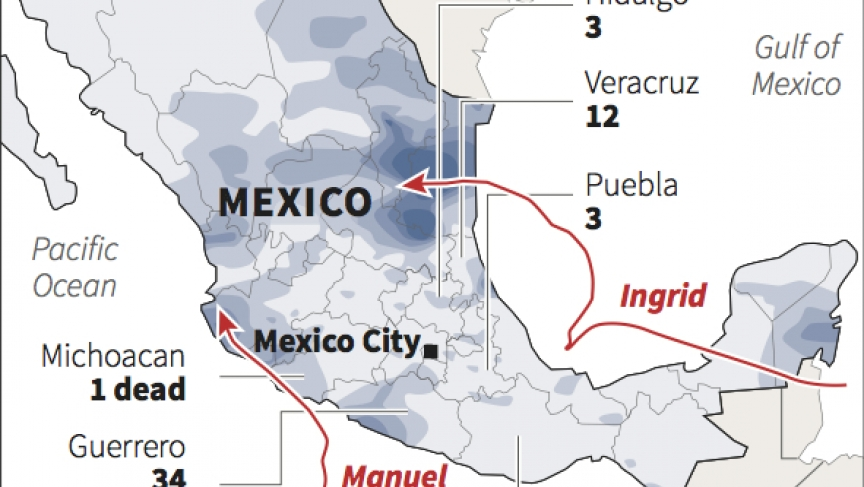 Mexico's 1-2 punch from tropical storms Manuel and Ingrid. Thursday morning Manuel made a second landfall farther to the north and a third tropical storm was brewing off the country's Atlantic coast.