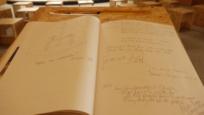 The Siegerland highway church guestbook, where everyone from truckdrivers to regular travelers leave comments.