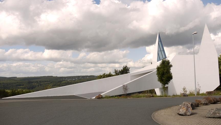 Siegerland's rest stop church, which resembles a cat head or batman.