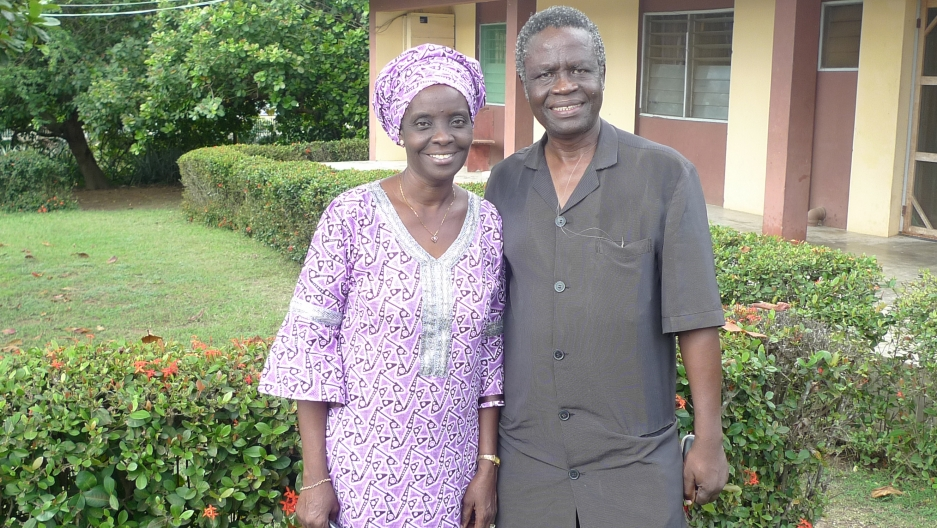 Dr. Oluyombo Awojobi – founder of the Awojobi medical clinic in Eruwa, Nigeria – and his wife, Atinuke Awojobi, who runs the clinic's x-ray department.