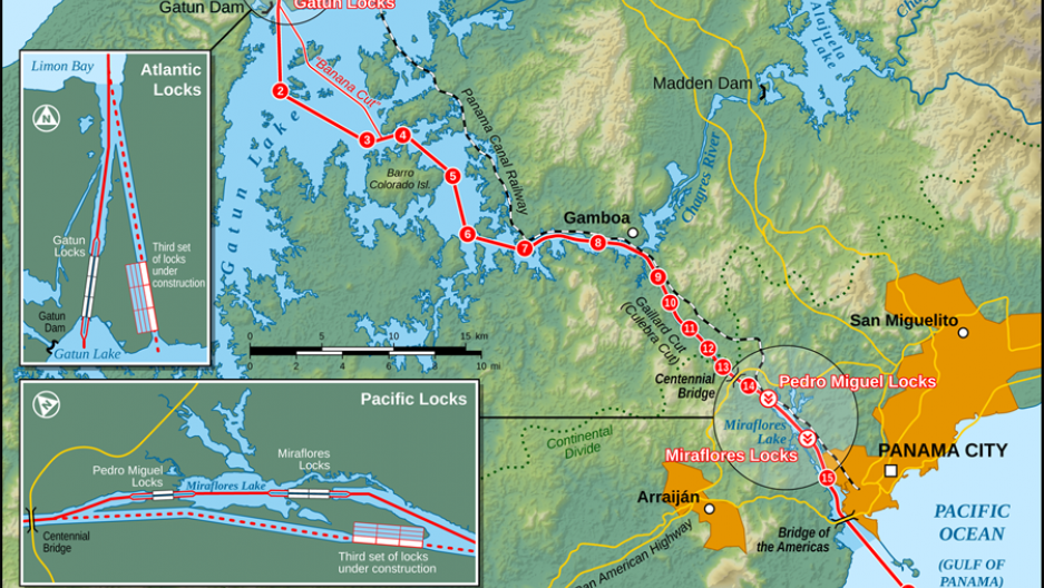 Map of the Panama Canal.