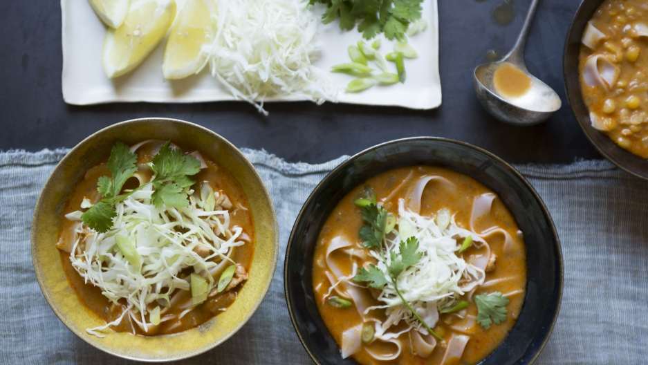 """A Burmese coconut noodle soup, called 'Karen', is one of several dishes that will be featured in Refugee Transitions' upcoming cookbook, """"Between Meals"""", due out in February."""