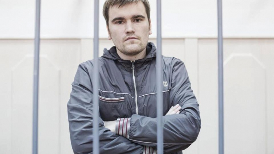 Alexei Gaskarov behind bars. He was just sentenced to 3-1/2 years in prison for his part in anti-Putin protests in May 2012.
