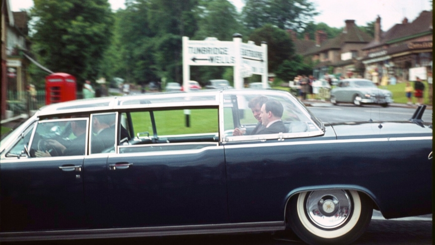 President Kennedy's motorcade passes through Forest Row in 1963.